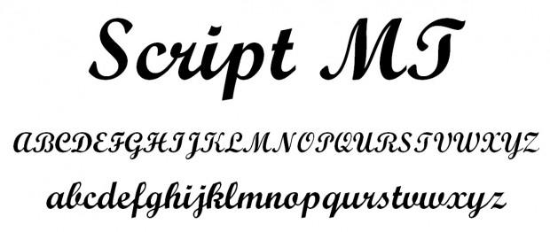 Script MT font